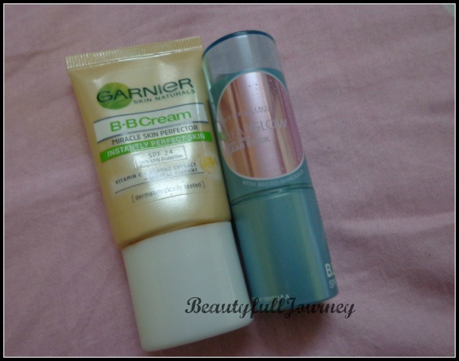 Garnier BB cream - Rs.99/-  Maybelline BB stick - Rs.250/-