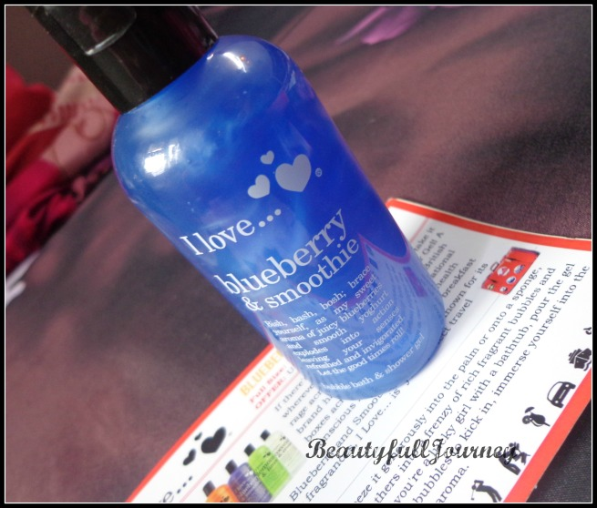 I love... Blueberry and Smoothie Bubble Bath & Shower Gel Full size: Rs.795/- for 500ml Sample size in box: Rs.250/- for 100ml