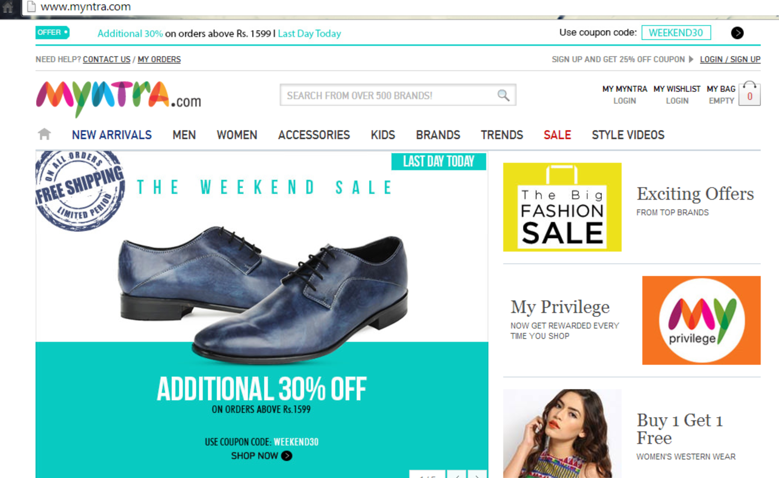 Myntra Home Page