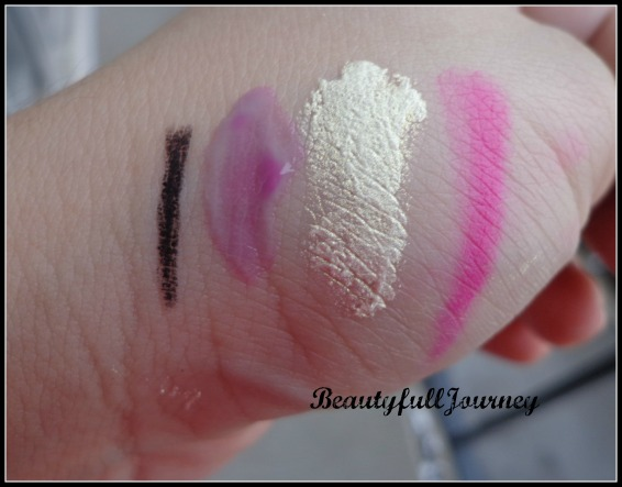 UD liner, Benefit Lollitint, City color white gold, Cailyn acid pink.